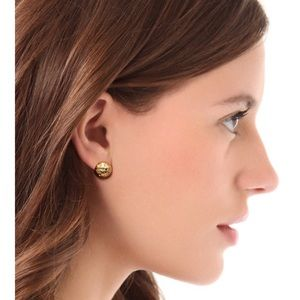 Tory Burch gold domed logo stud earrings
